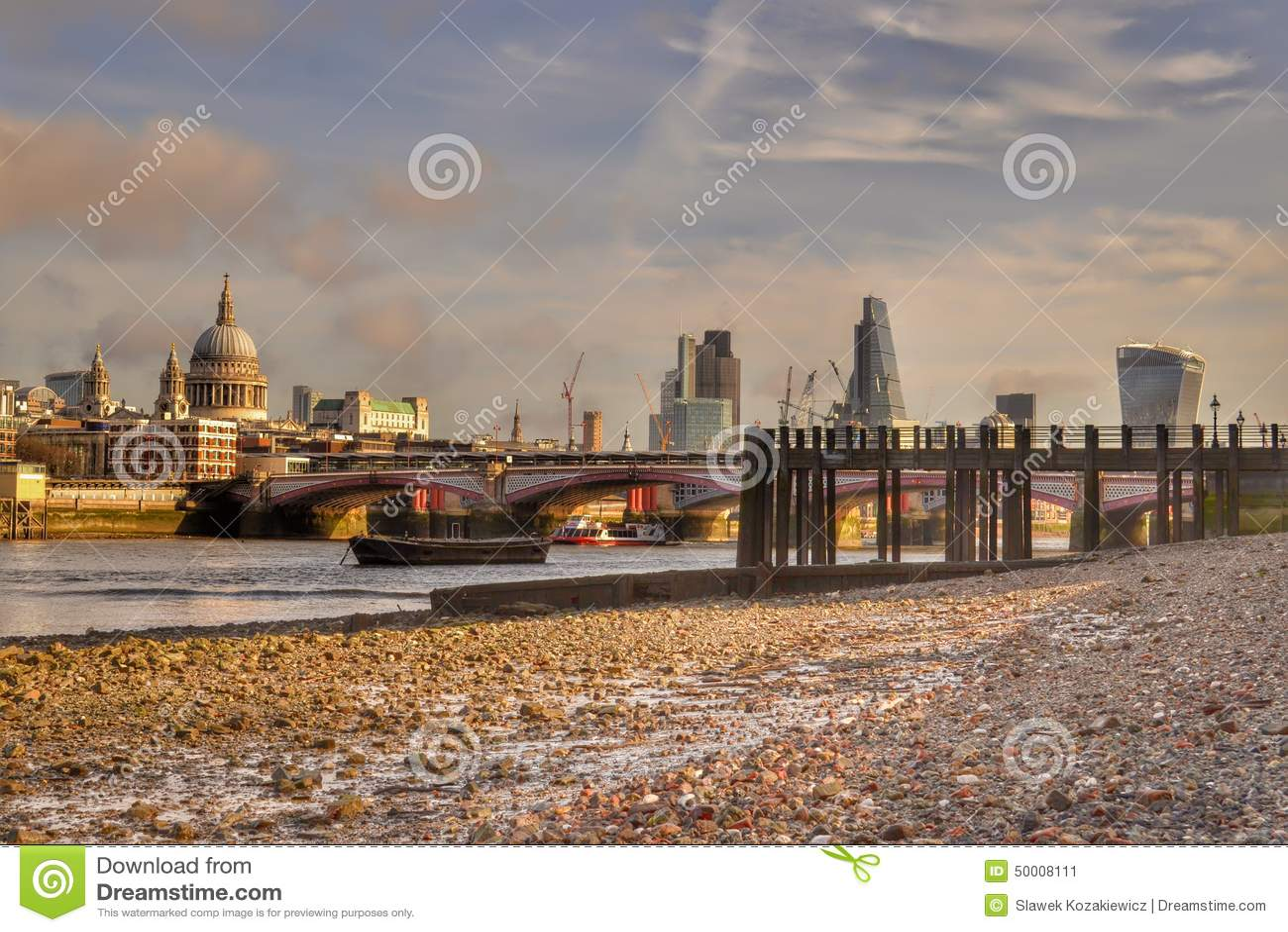 London skyline river Thames low tide
