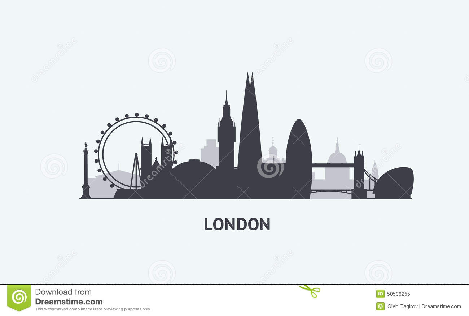 London Skyline Silhouette Stock Vector Illustration Of Europe
