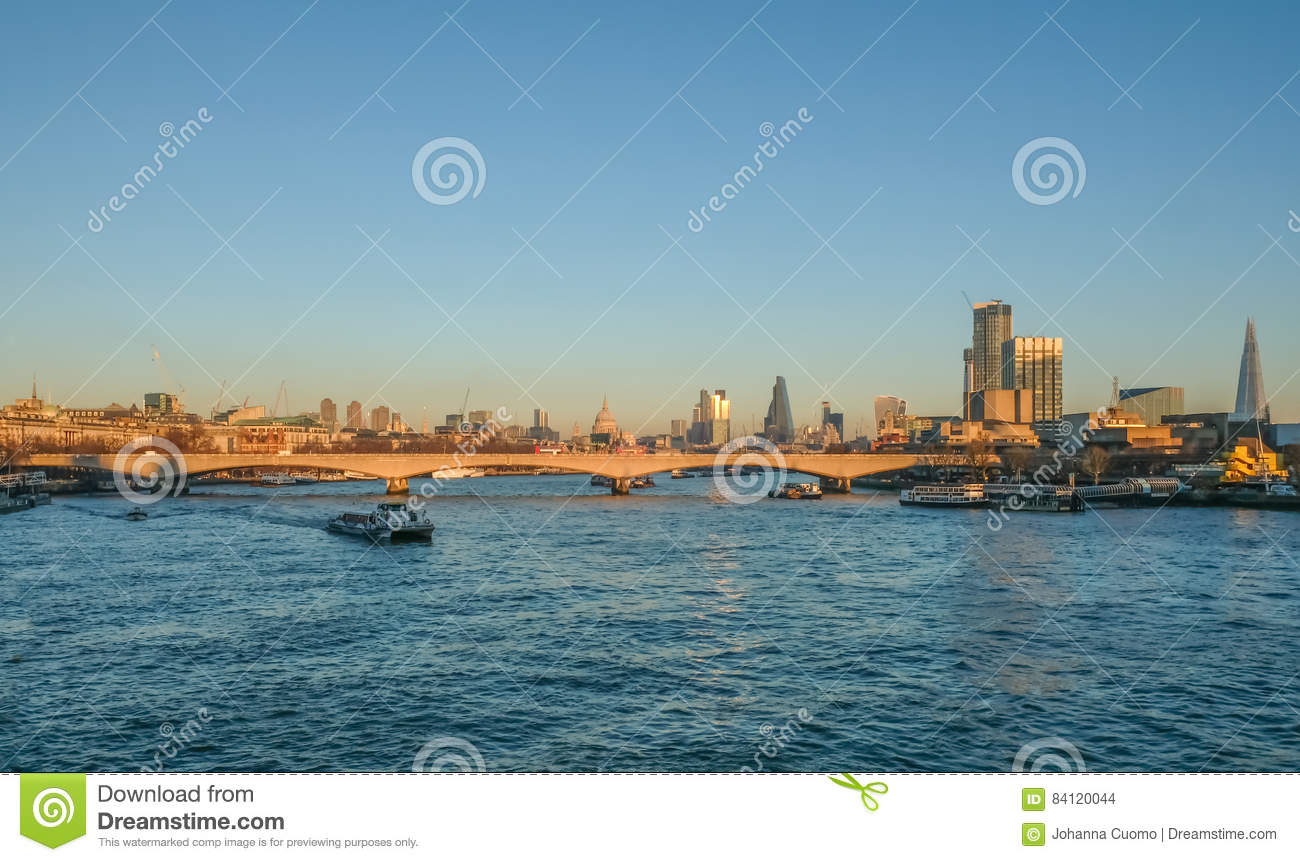 London Skyline View Of Waterloo Bridge And The City And The