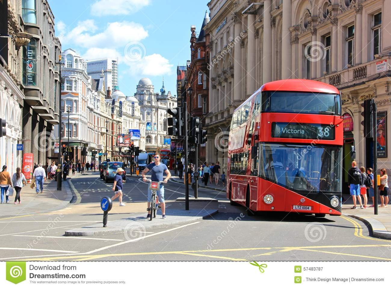London soho picadilly circus red bus editorial for Time square londra