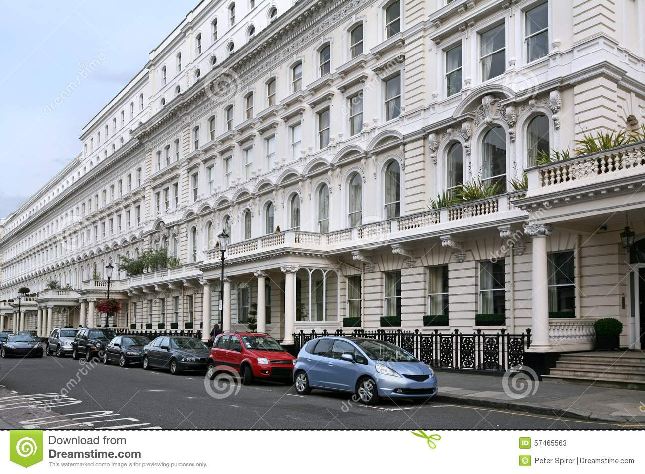London Street Apartment Buildings Stock Image - Image: 57465563
