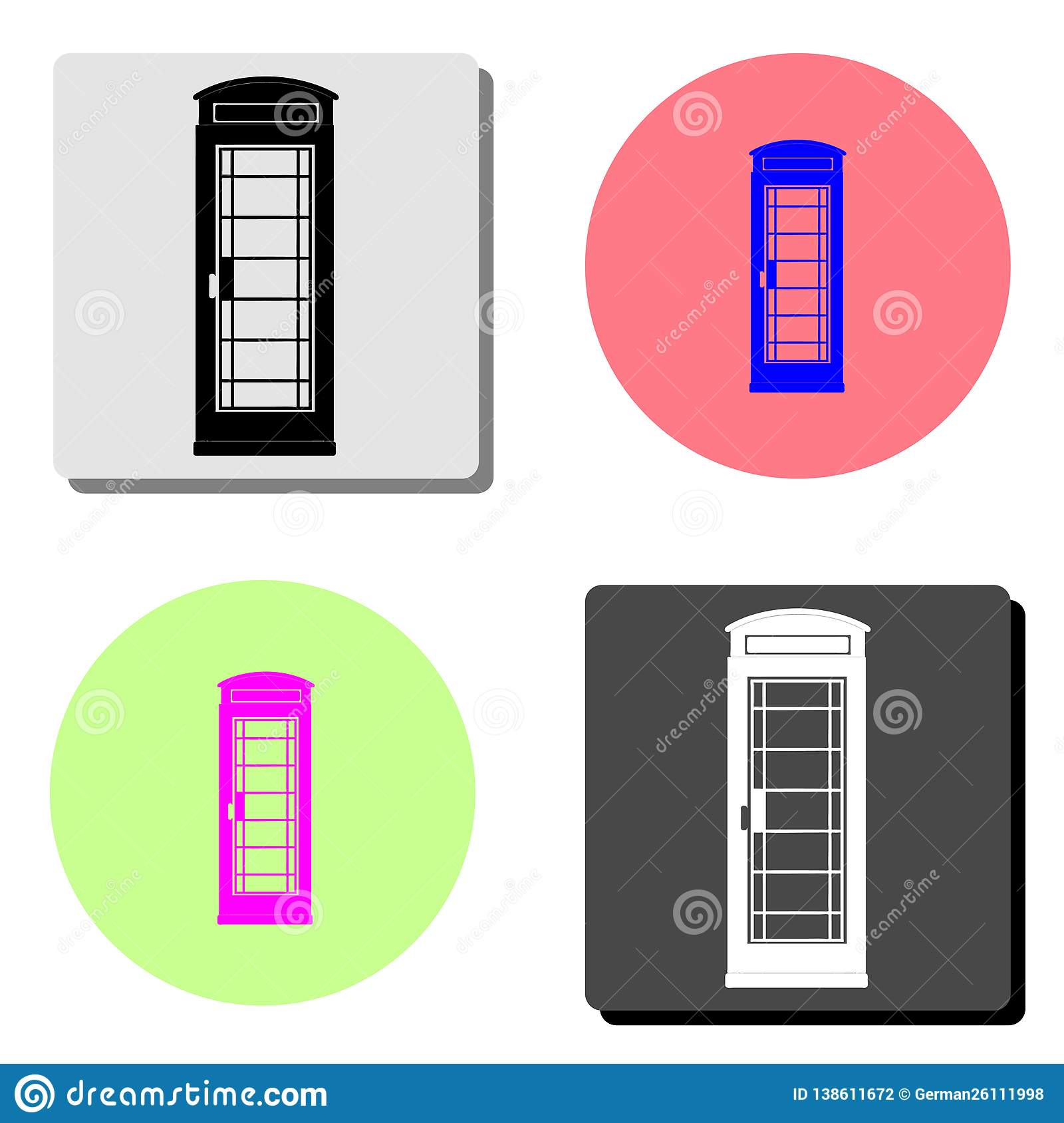 London telephone booth. flat vector icon