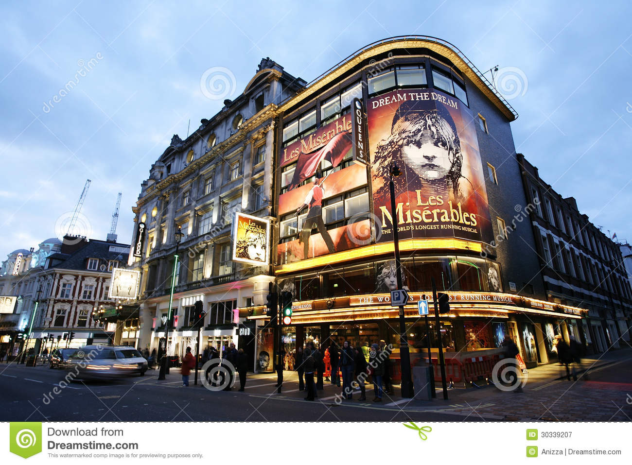 December 10, 2012: Outside view of Queen's Theatre, West End theatre ...