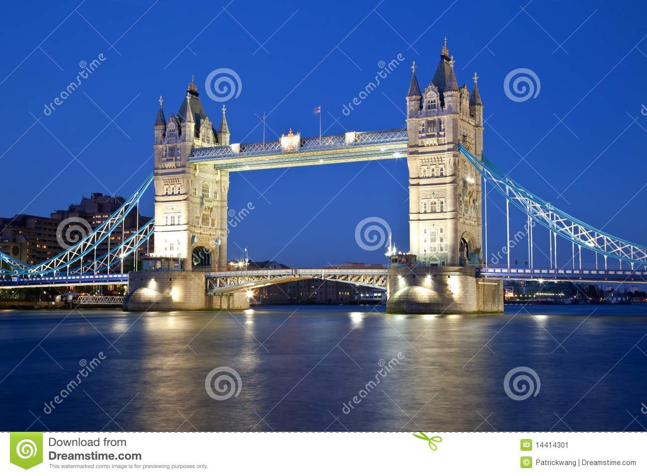London Tower Bridge By Night Stock Image Image 14414301