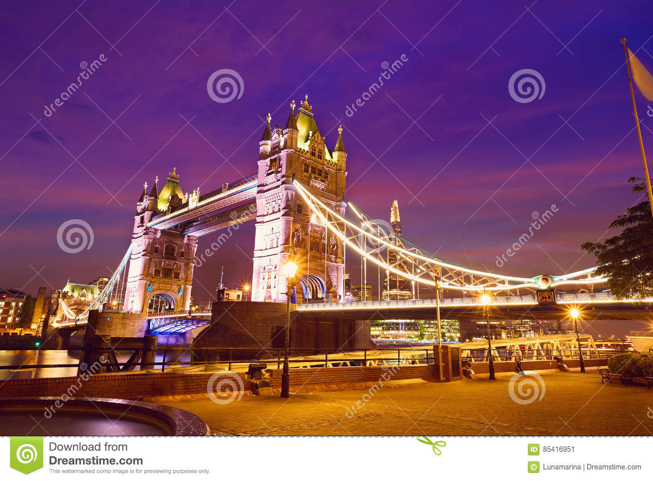 Download London Tower Bridge Sunset On Thames River Stock Image - Image of island, city: 85416951