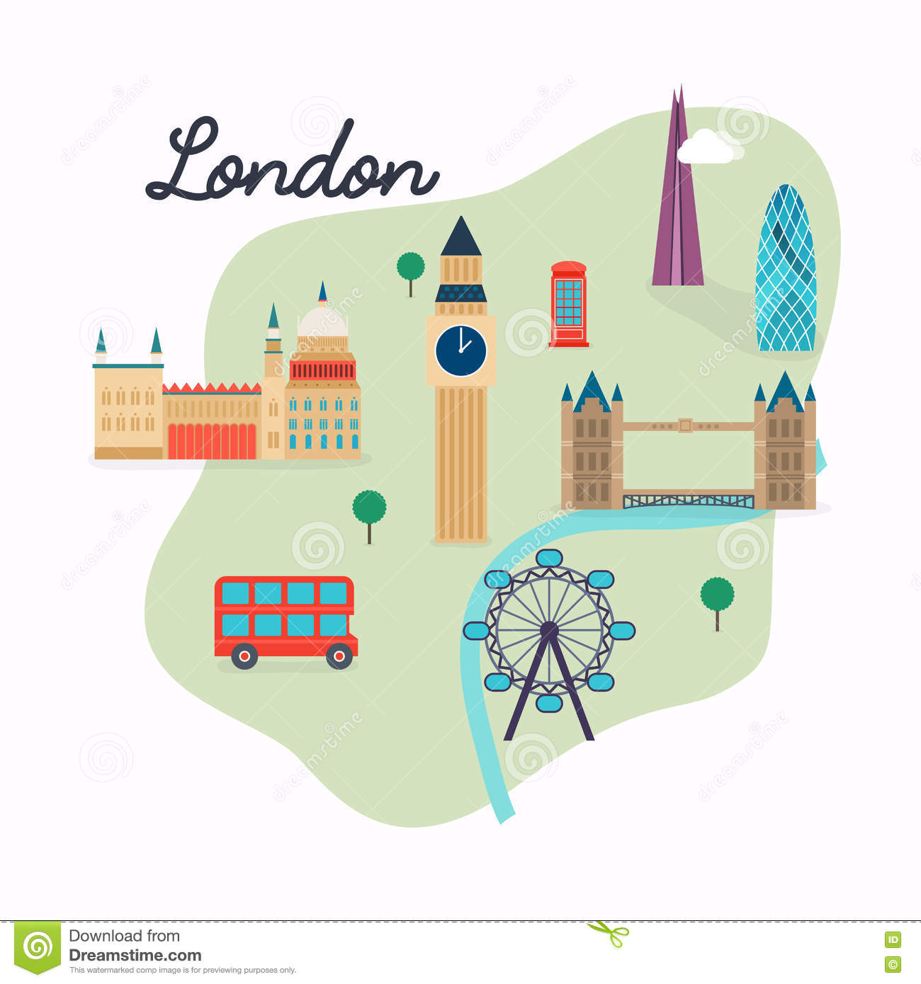 London Uk Transit Map.London Travel Map And Vector Landscape Of Buildings And Famous