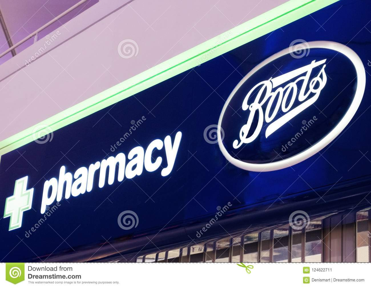 LONDON, UK , AUGUST 31, 2018 Boots And Pharmacy Display In