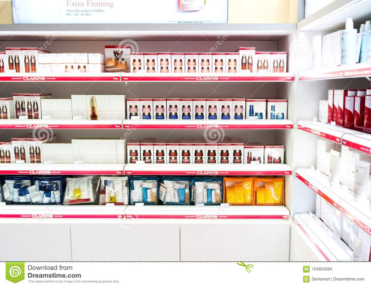 London Uk August 31 2018 Clarins Perfume And Cosmetic Makeup Luxury Collection In Boutique Elegant