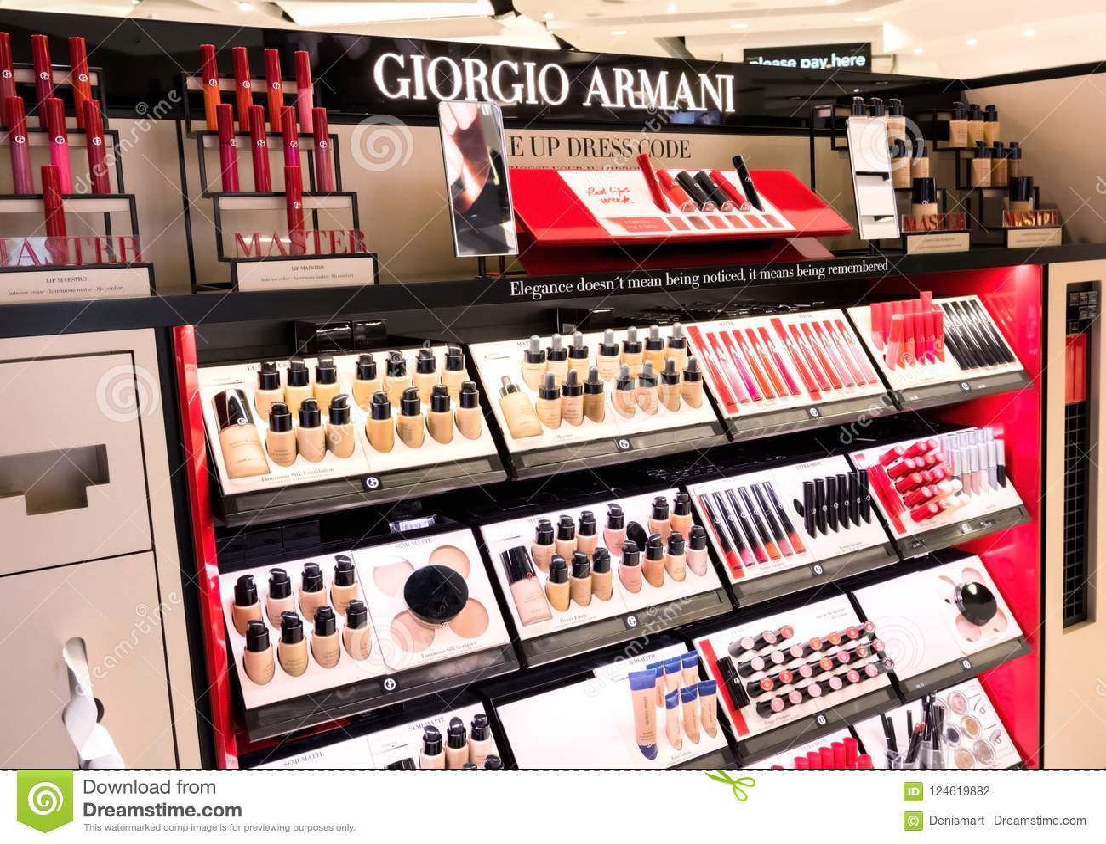 London Uk August 31 2018 Giorgio Armani Lipstick And Cosmetic