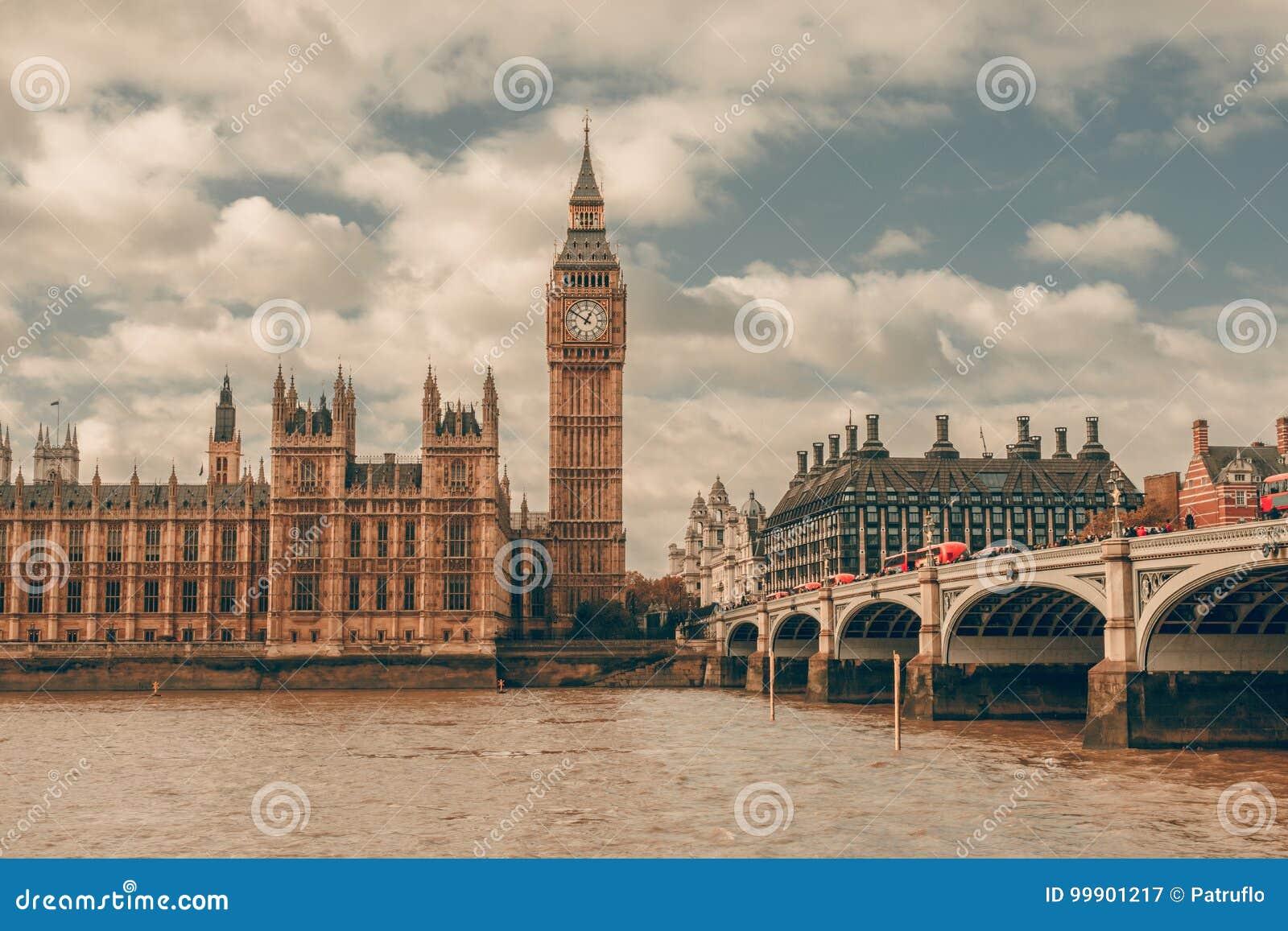 London, UK. Big Ben in Westminster Palace on River Thames