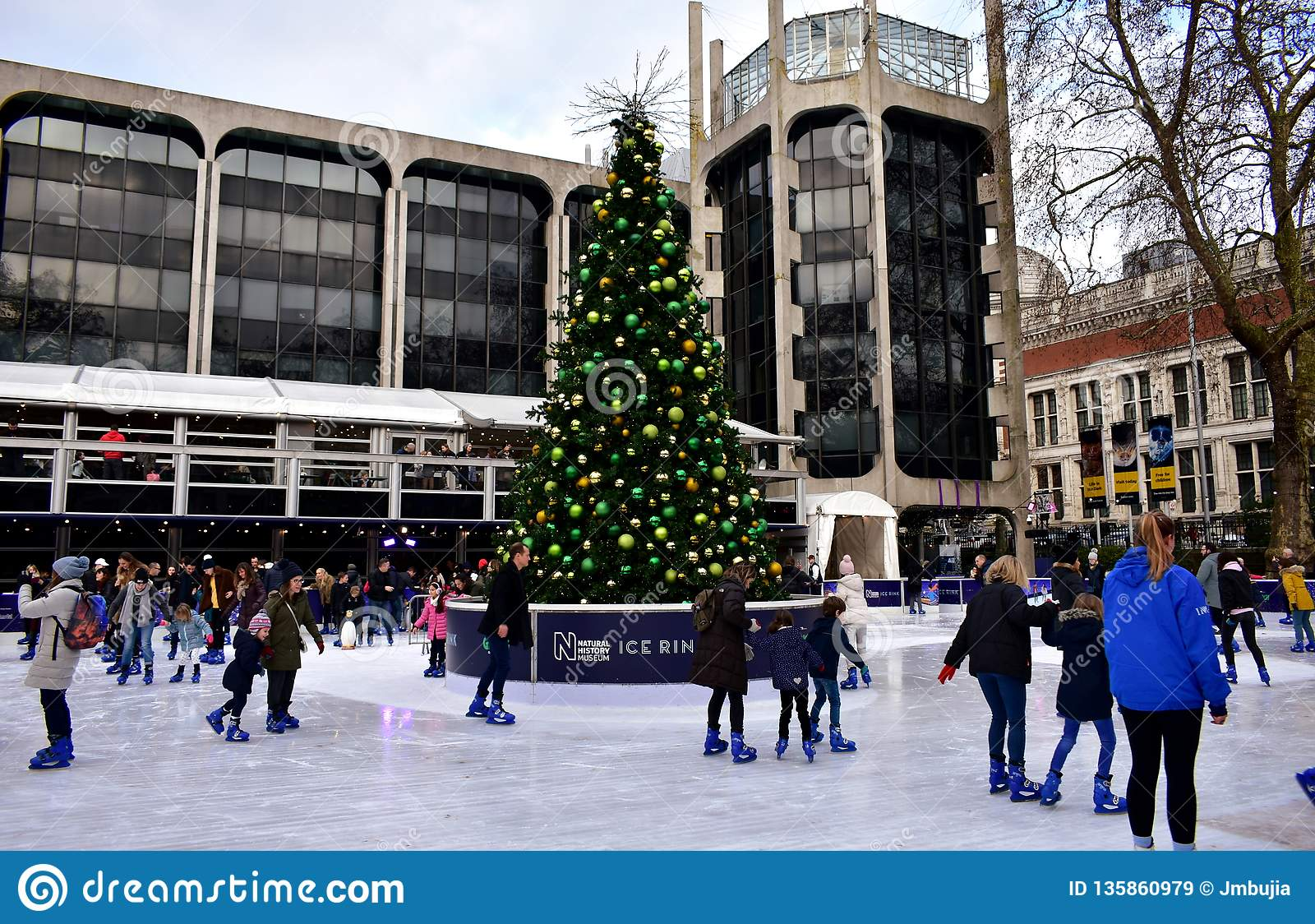 Christmas Ice Skating.People Skating On Ice At The Natural History Museum