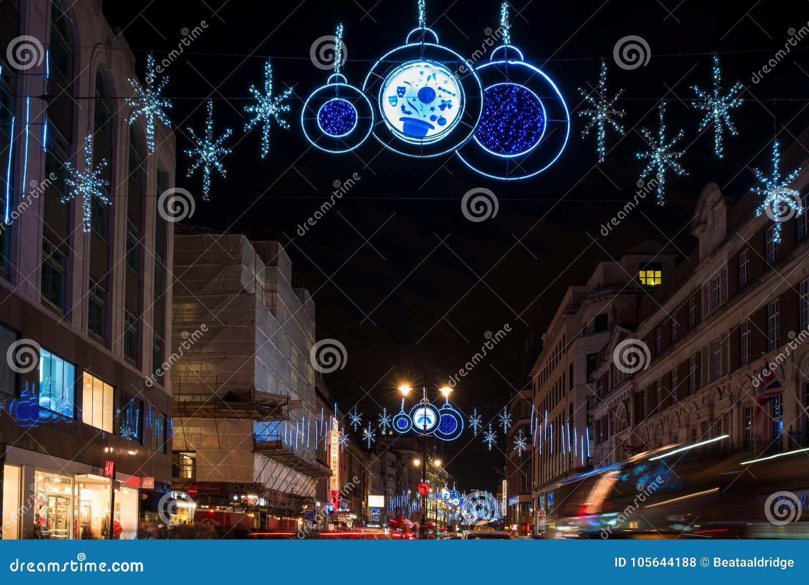 Christmas decorations on The Strand, London UK