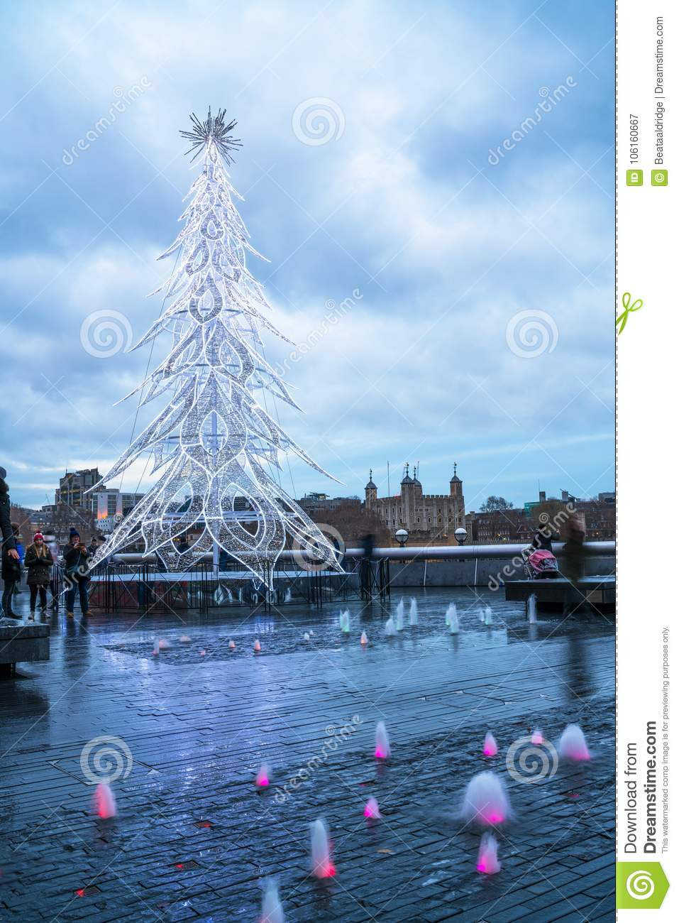 View Of A Modern Led Christmas Tree Standing Next To The
