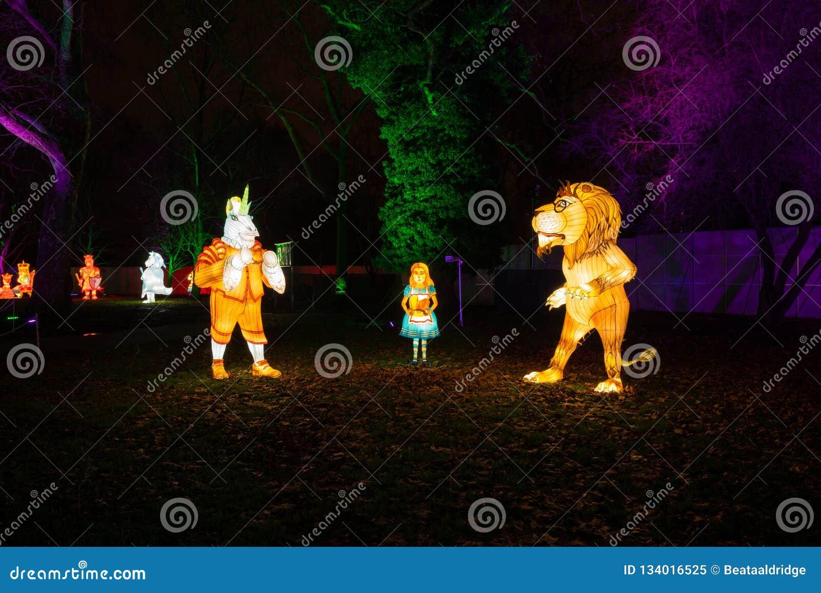 Alice in Wonderland lantern festival, Southwark Park, London UK
