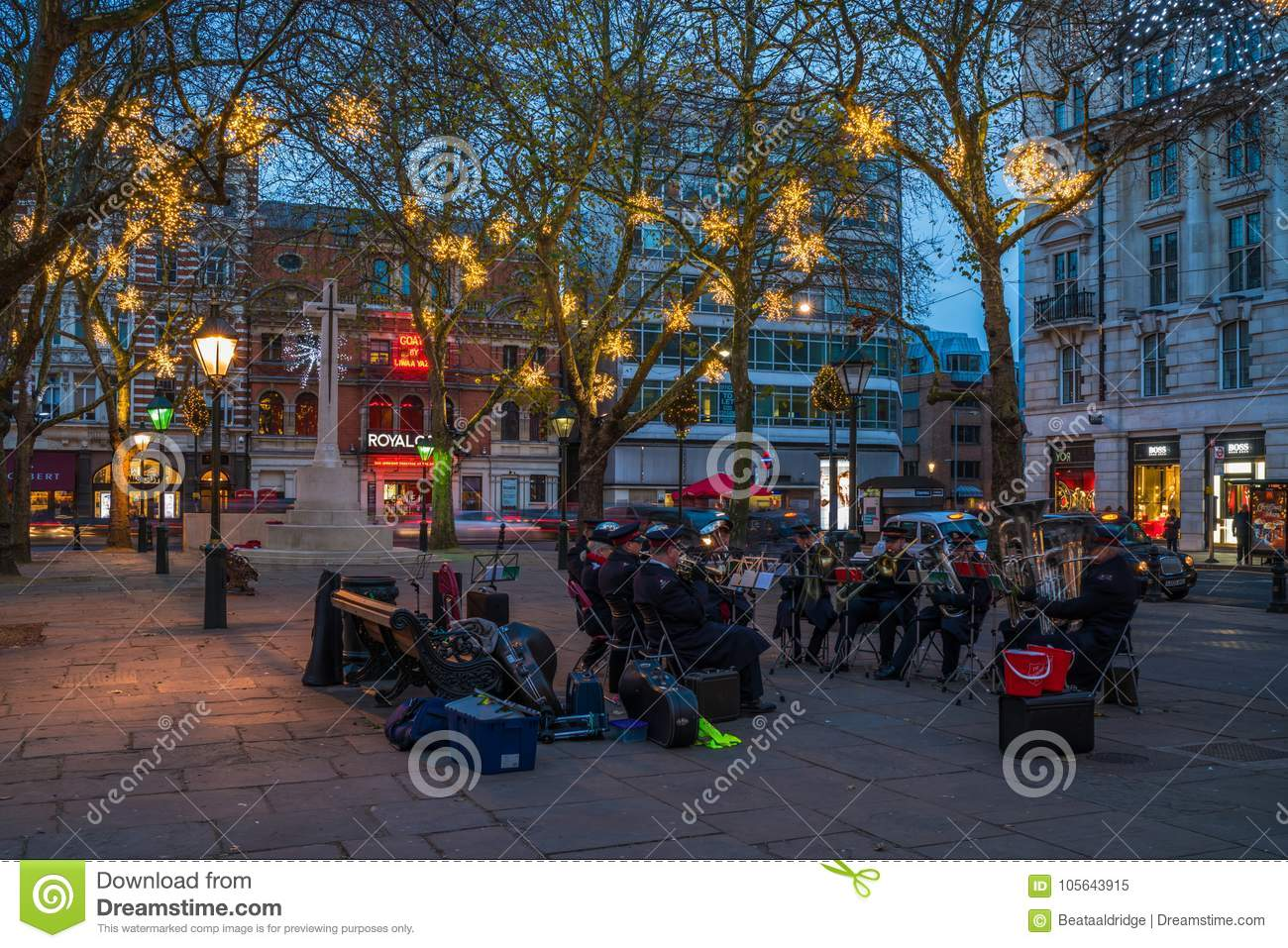 Salvation Army Brass Band Plays Music On Duke Of York Square In
