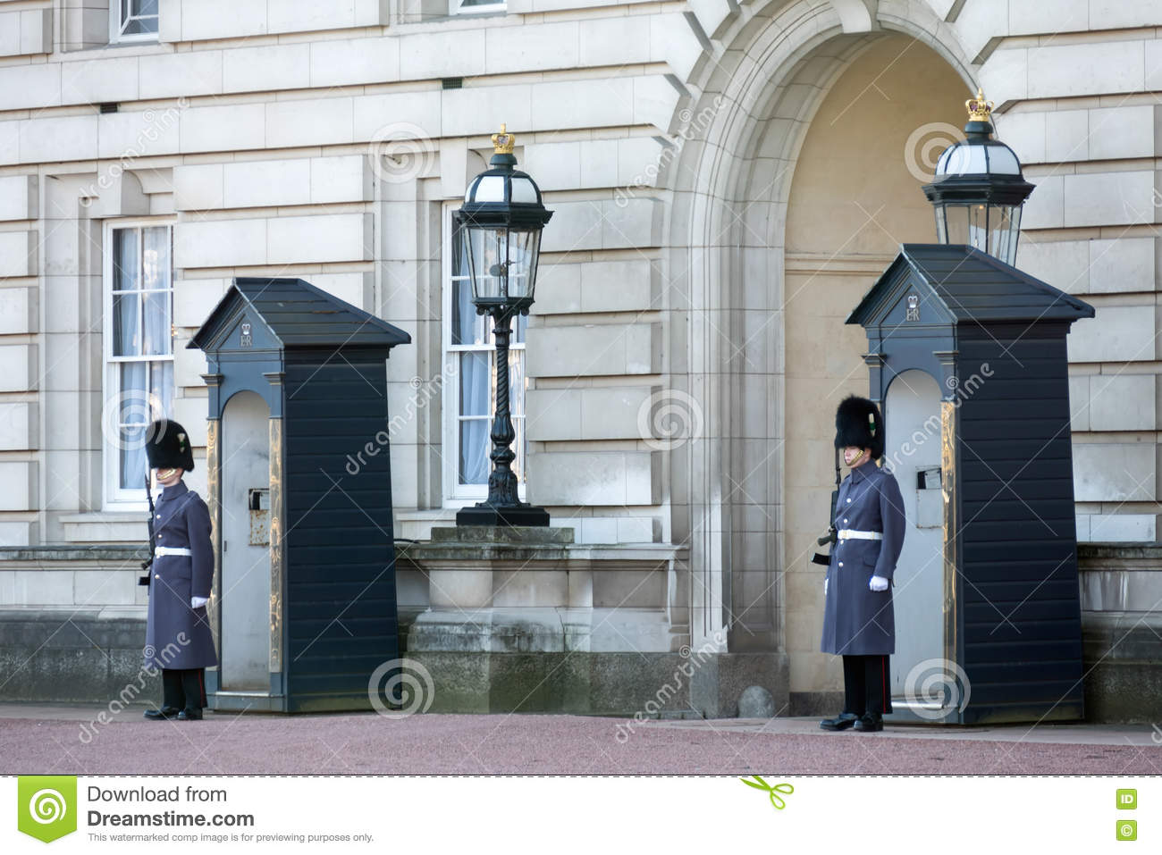 LONDON/UK - FEBRUARY 18 : Guards in greatcoats on sentry duty at