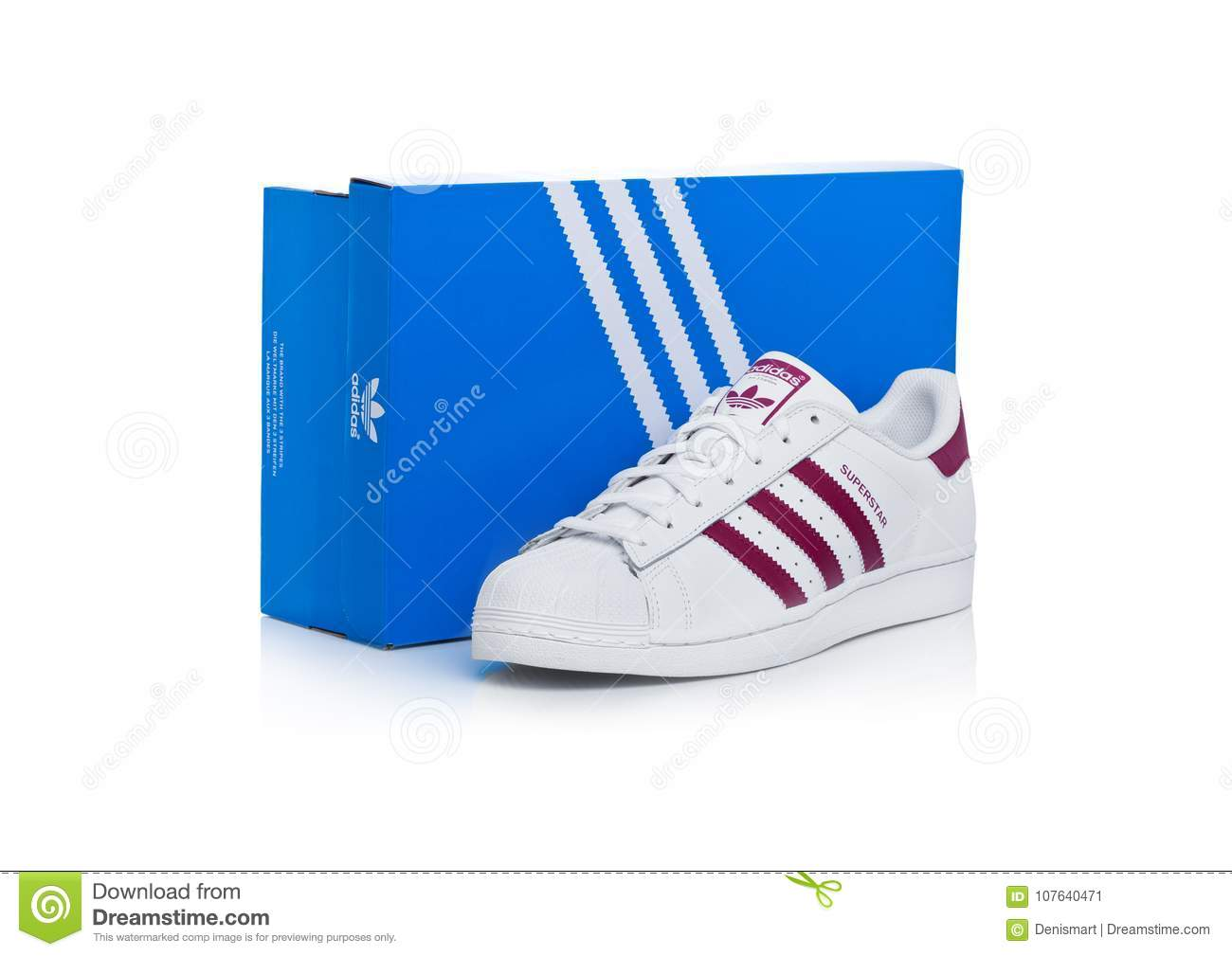 buy popular e40b3 85827 LONDON, UK - JANUARY 12, 2018  Adidas Originals Superstar red shoes with  box on white background.German multinational corporation that designs and  ...