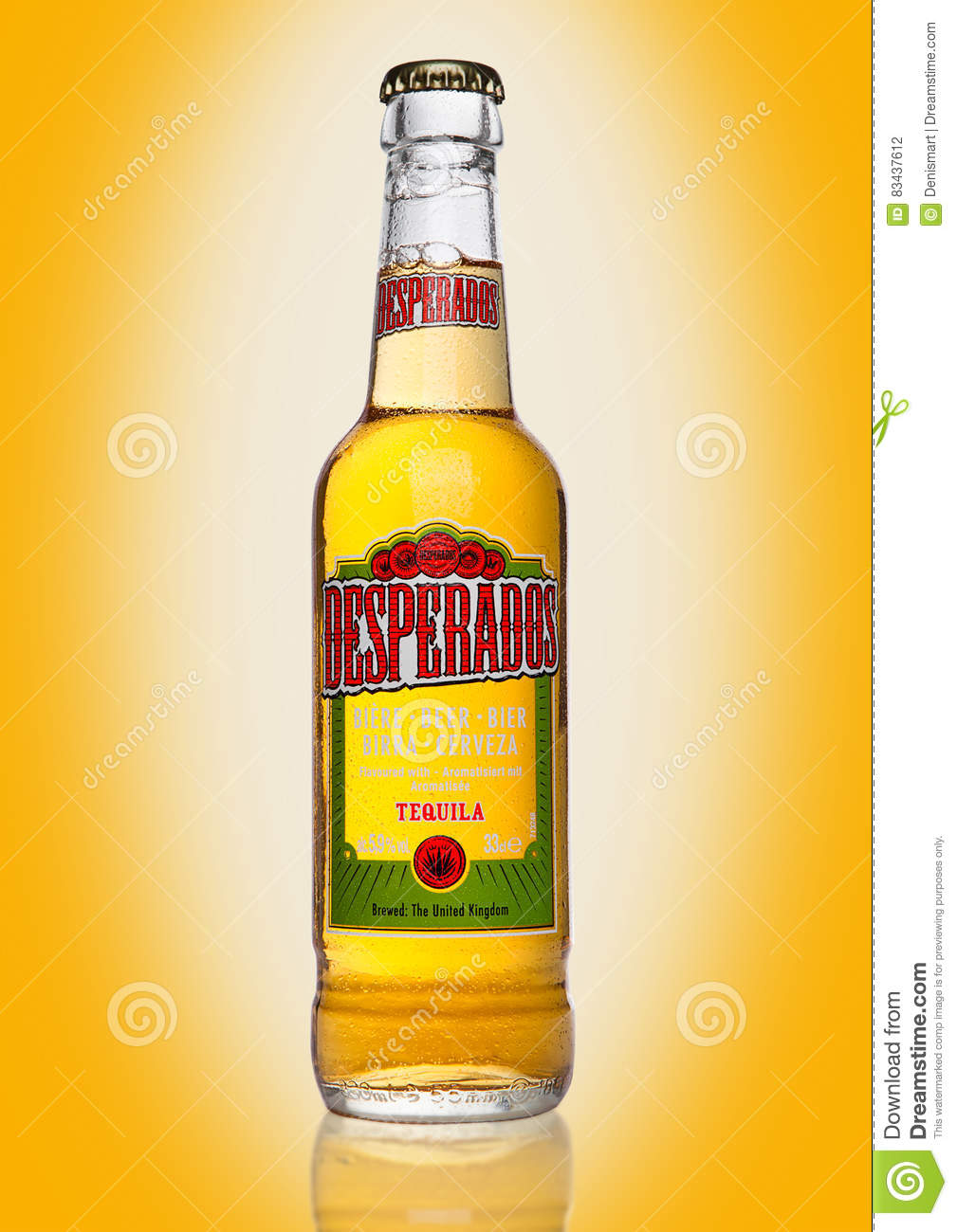 London Uk January 02 2017 Bottle Of Desperados Beer On Yellow Background Lager Flavored With Tequila Is A Popular Beer Produ Editorial Photography Image Of Bottle Isolated 83437612