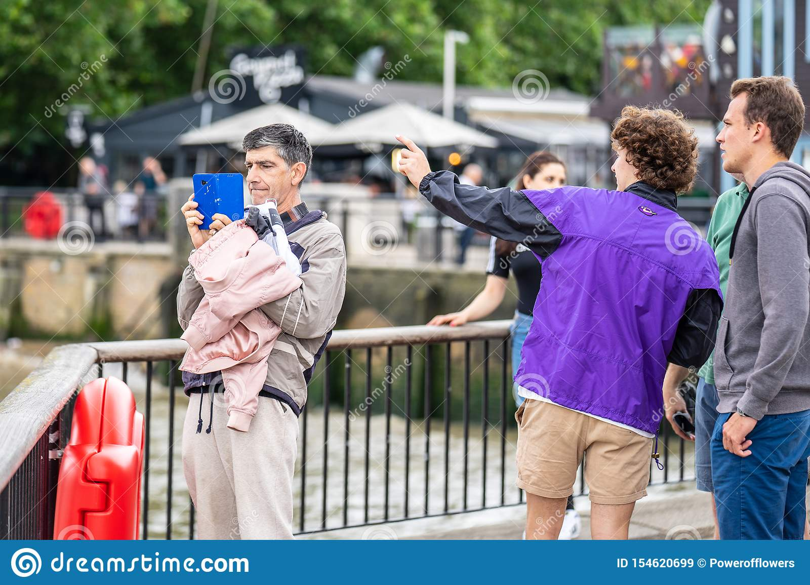 London, UK, July, 2019. Close up portrait of happy attractive people taking selfie in London