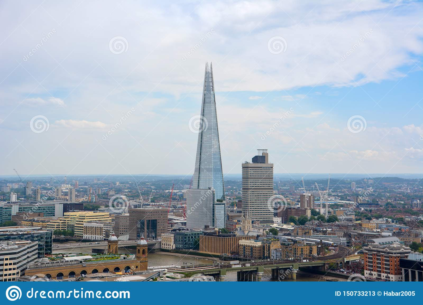 LONDON, UK - JULY 19, 2014: View of London from above. Shard skyscraper. London from St Paul`s Cathedral