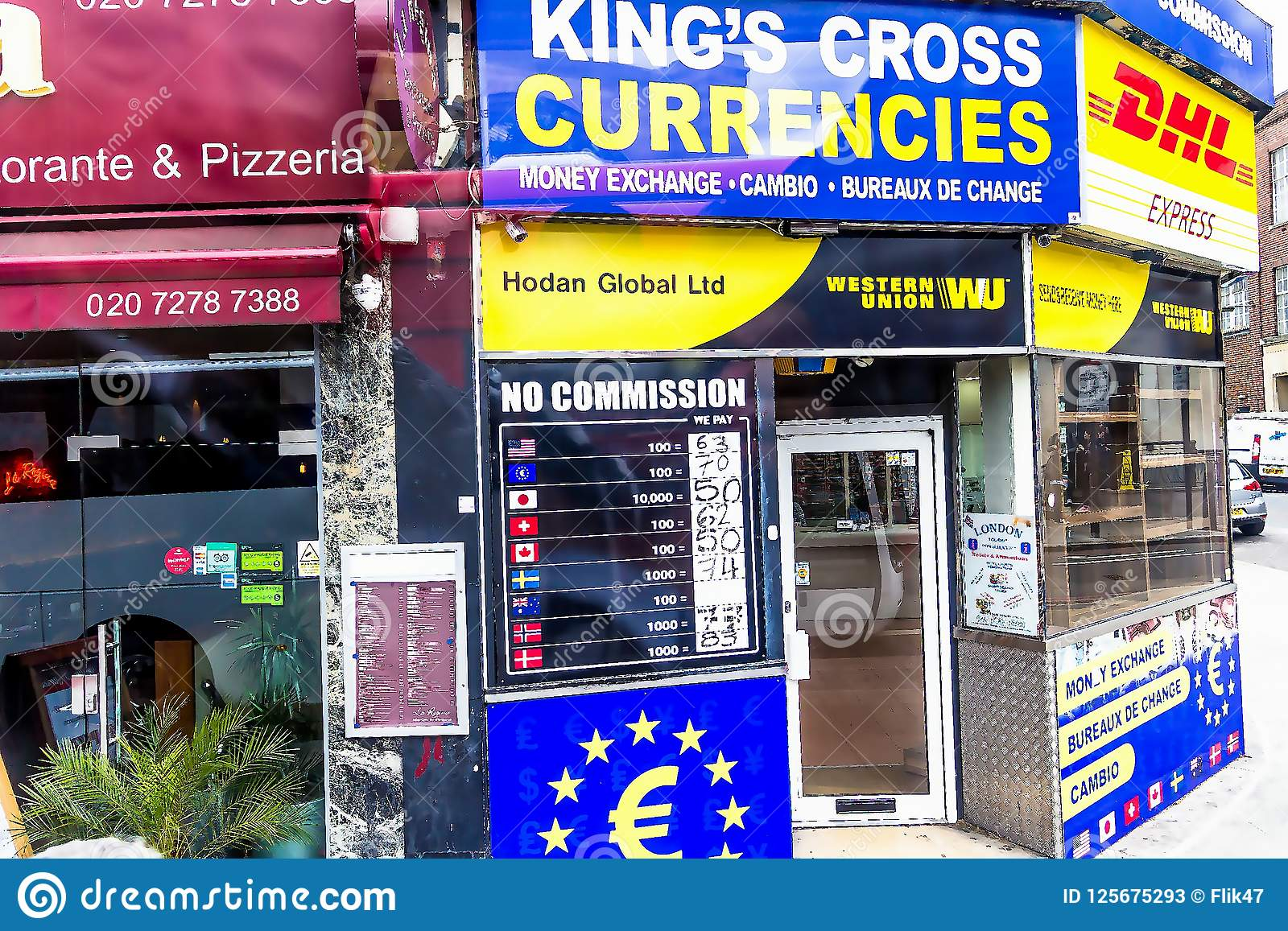 Currency exchange bureau king cross currencies editorial stock photo