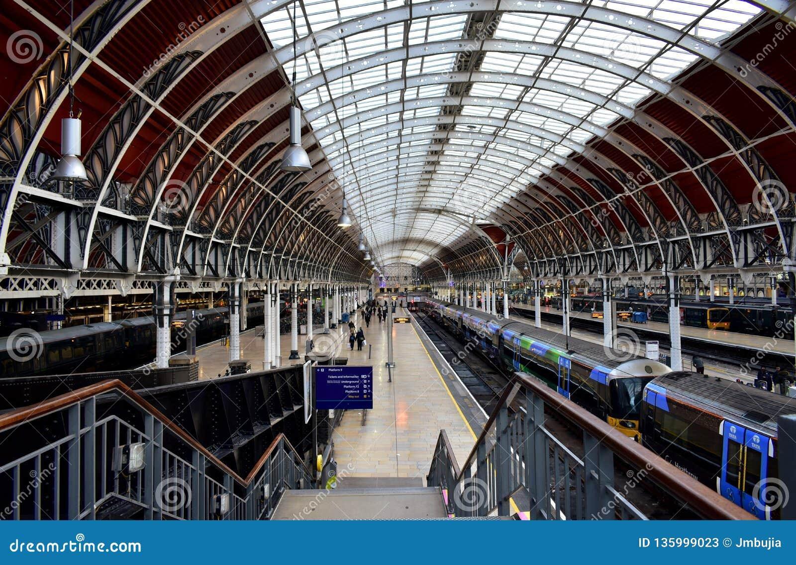 Paddington Train Station with victorian train shed. London, United Kingdom.