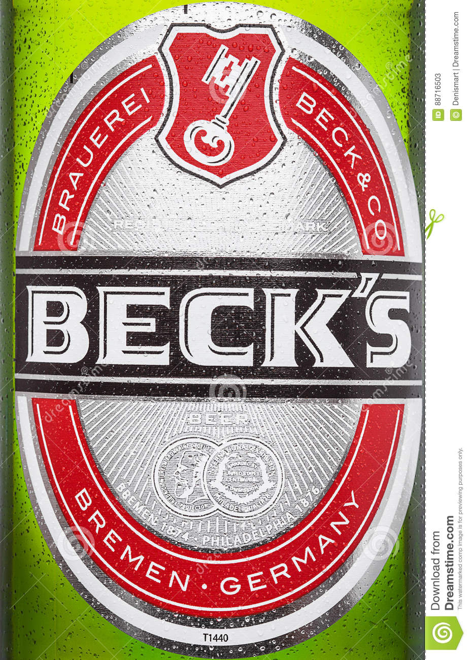 LONDON, UK - MARCH 15, 2017: Bottle close up logo of Becks beer on white background. Becks brewery was founded in 1873 in Bremen,