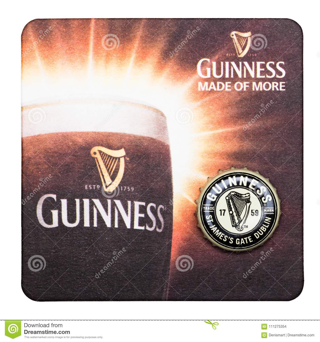 LONDON, UK - MARCH 01, 2018: Guinness draught beer original beermat coaster isolated on white.
