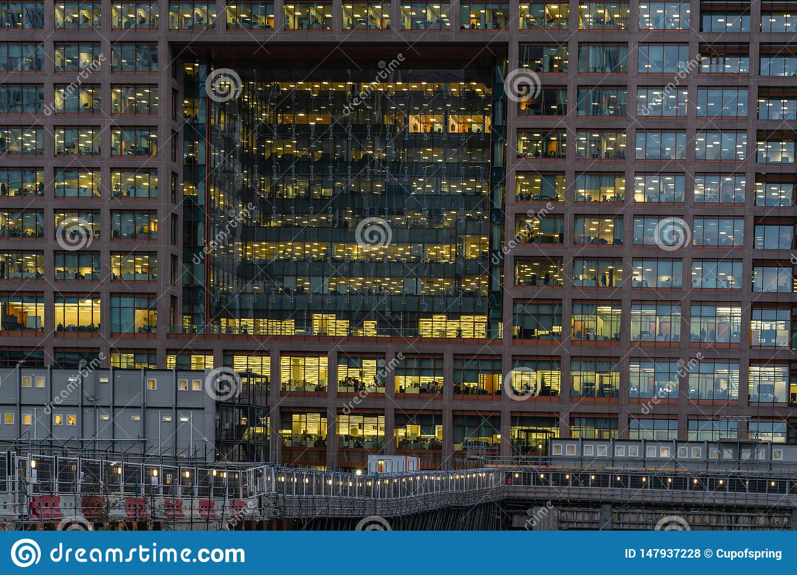 London, UK - March 05, 2019: Night View To Morgan Stanley Office