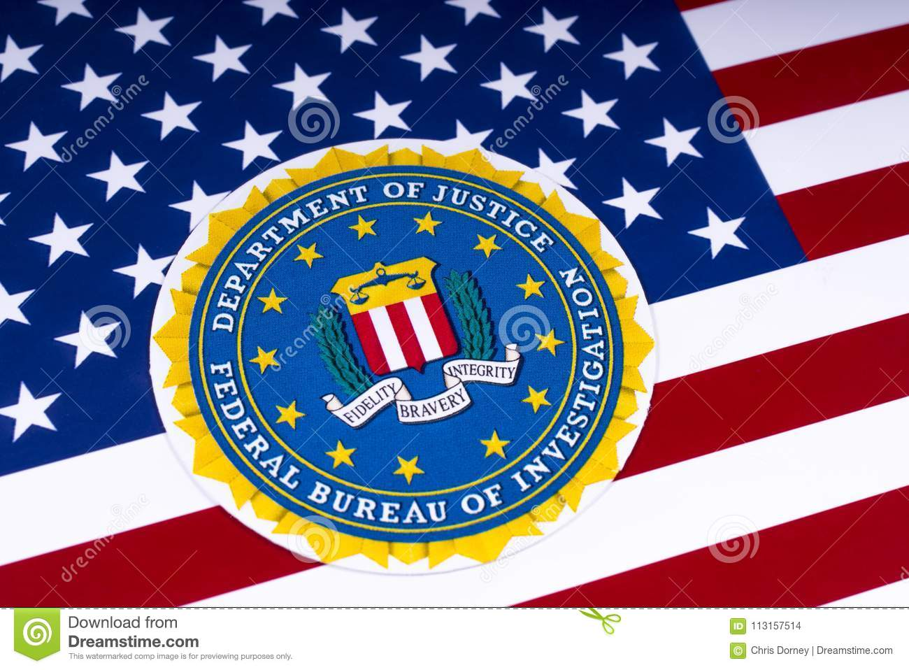 Fbi Logo And The Usa Flag Editorial Stock Image Image Of Badge