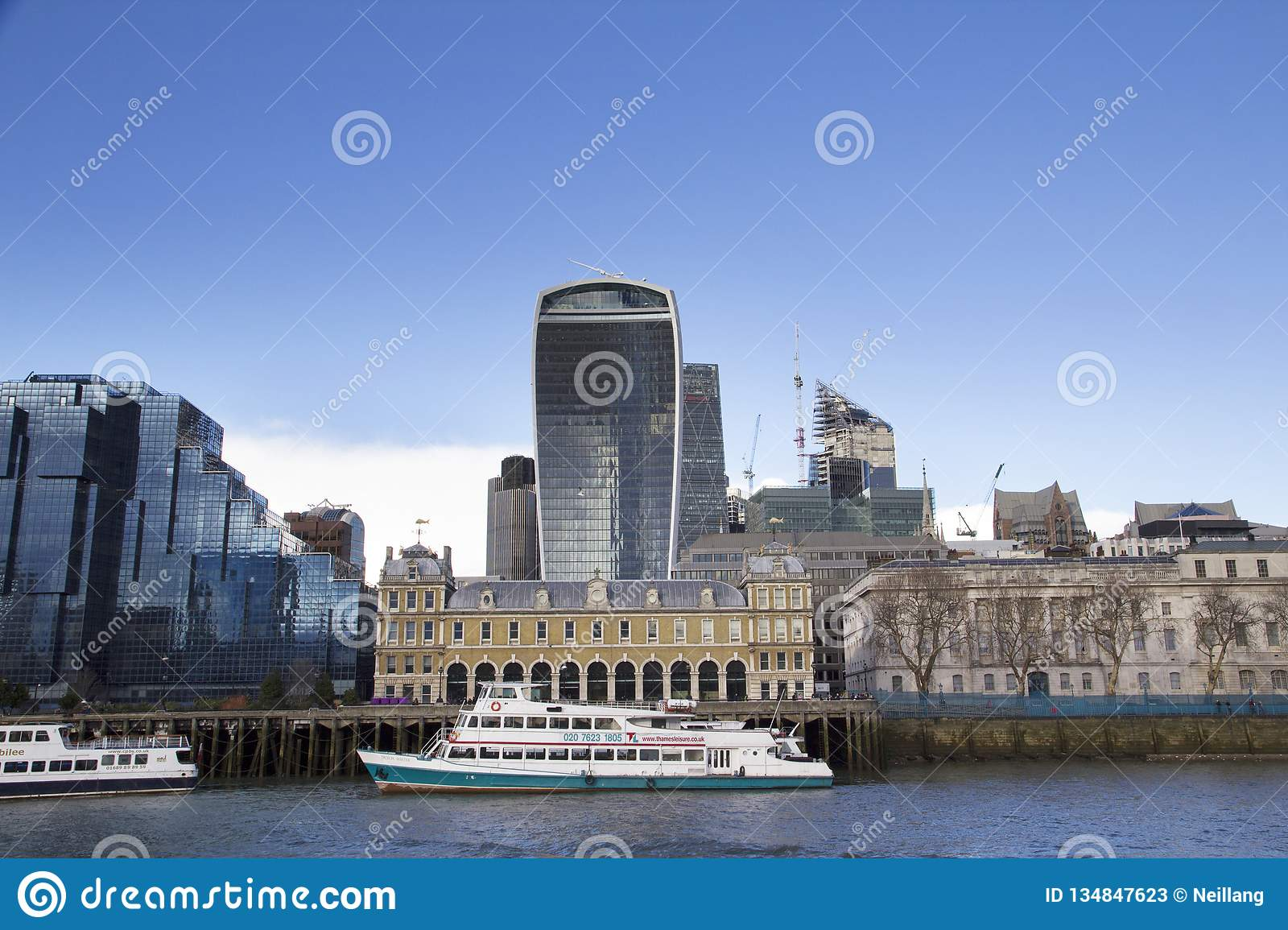 London cityscape across the River Thames with a view of the Leadenhall, 30 St Mary Axe and 20 Fenchurch