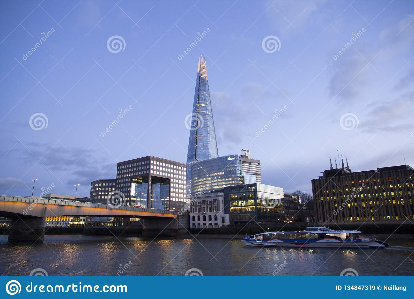 London cityscape across the River Thames with a view of the Shard, London, England, UK, May 20, 2017