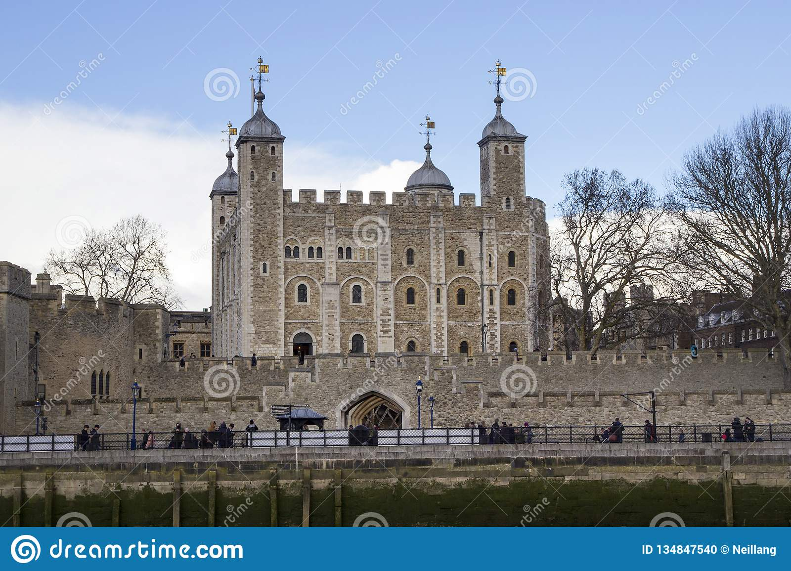 London cityscape across the River Thames with a view of the Tower of London, London, England, UK, May