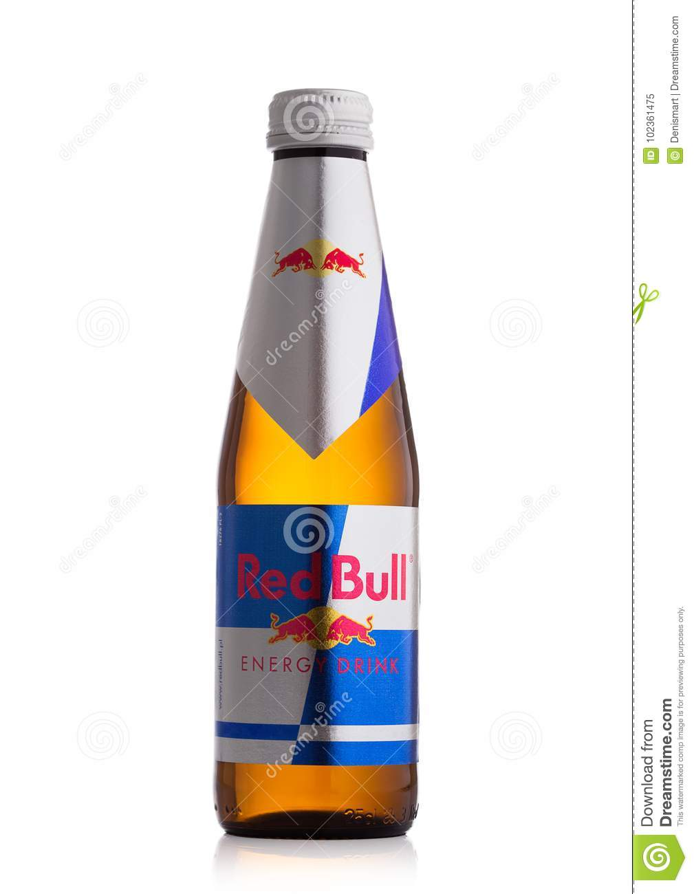 london uk october 20 2017 glass bottle of red bull energy drink on white background red