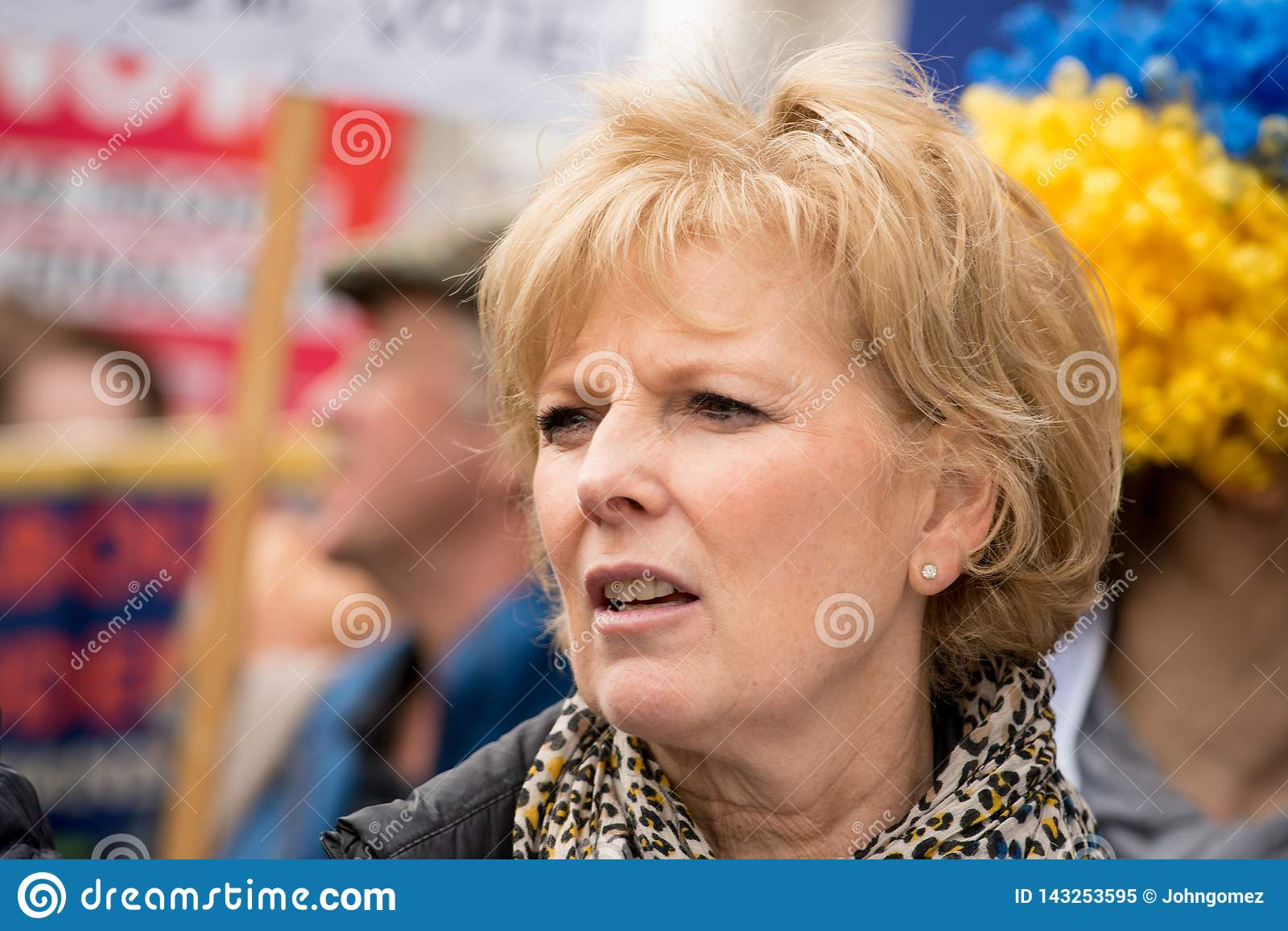 Anna Soubry MP at the `Put It To The People` protest demonstration.