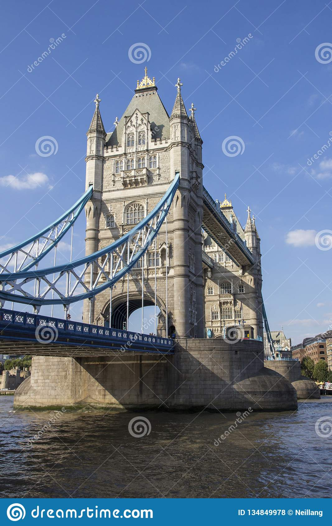 London cityscape across the River Thames with a view of Tower Bridge, London, England, UK,
