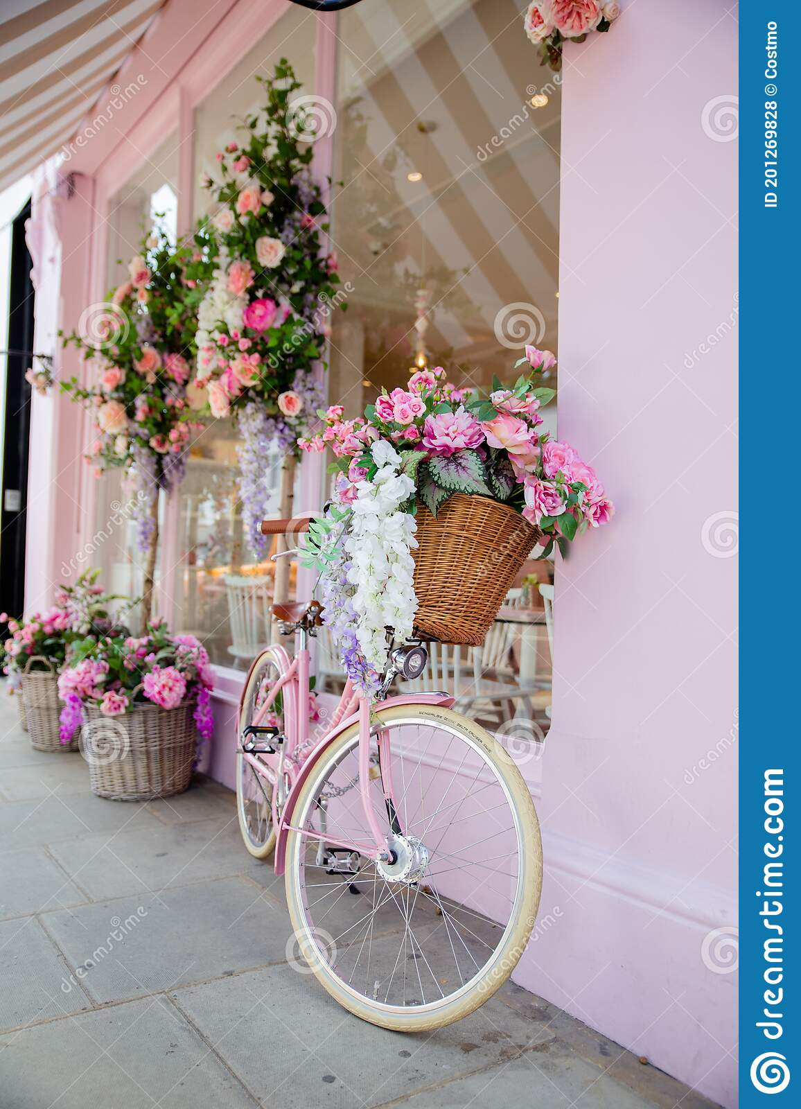 Pink Bicycle Surrounded By Artificial Flowers Outside A Pink Cake Shop Editorial Stock Photo Image Of Basket Bakery 201269828