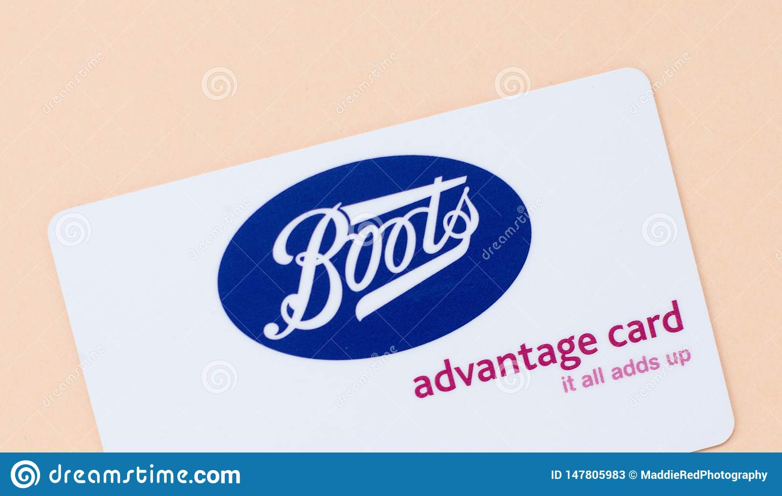 London, UK - 14th May 2019 - Boots advantage card. Boots is a health and beauty retailer and pharmacy chain in the UK