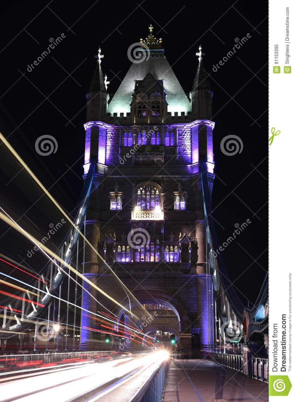 London, UK, Tower Bridge at night with light trails of buses and cars on the bridge,long exposure shot in low light