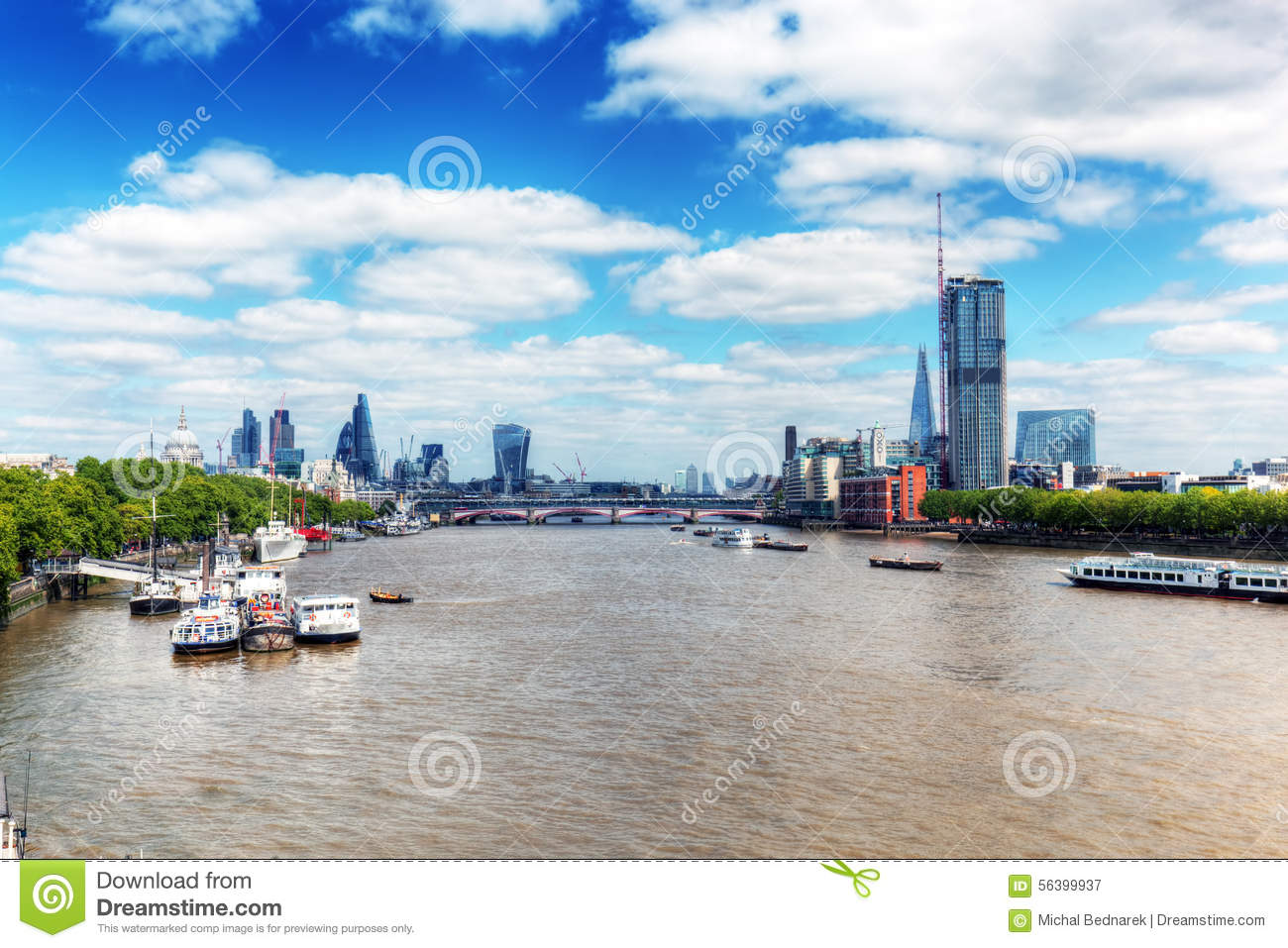 London, UK. View on River Thames and St Paul s Cathedral, the city.