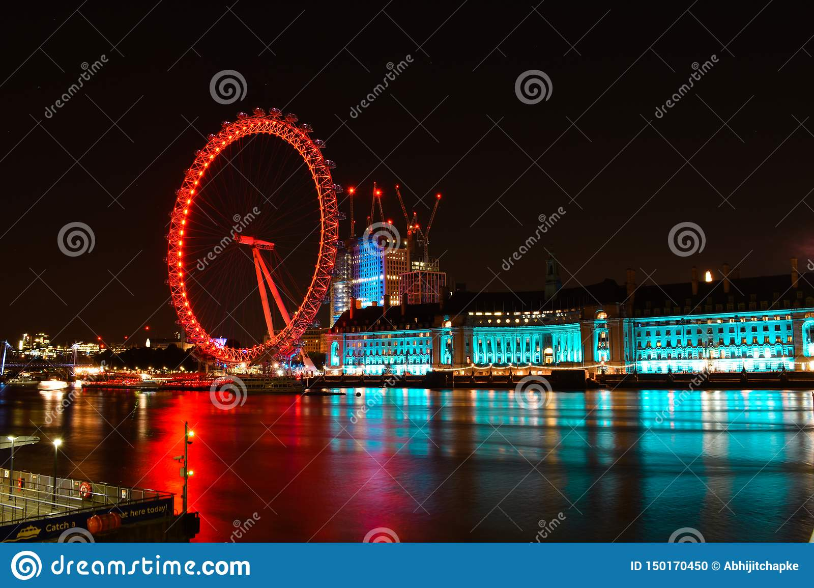 London und Fluss Themse an der D?mmerung London-Auge in London