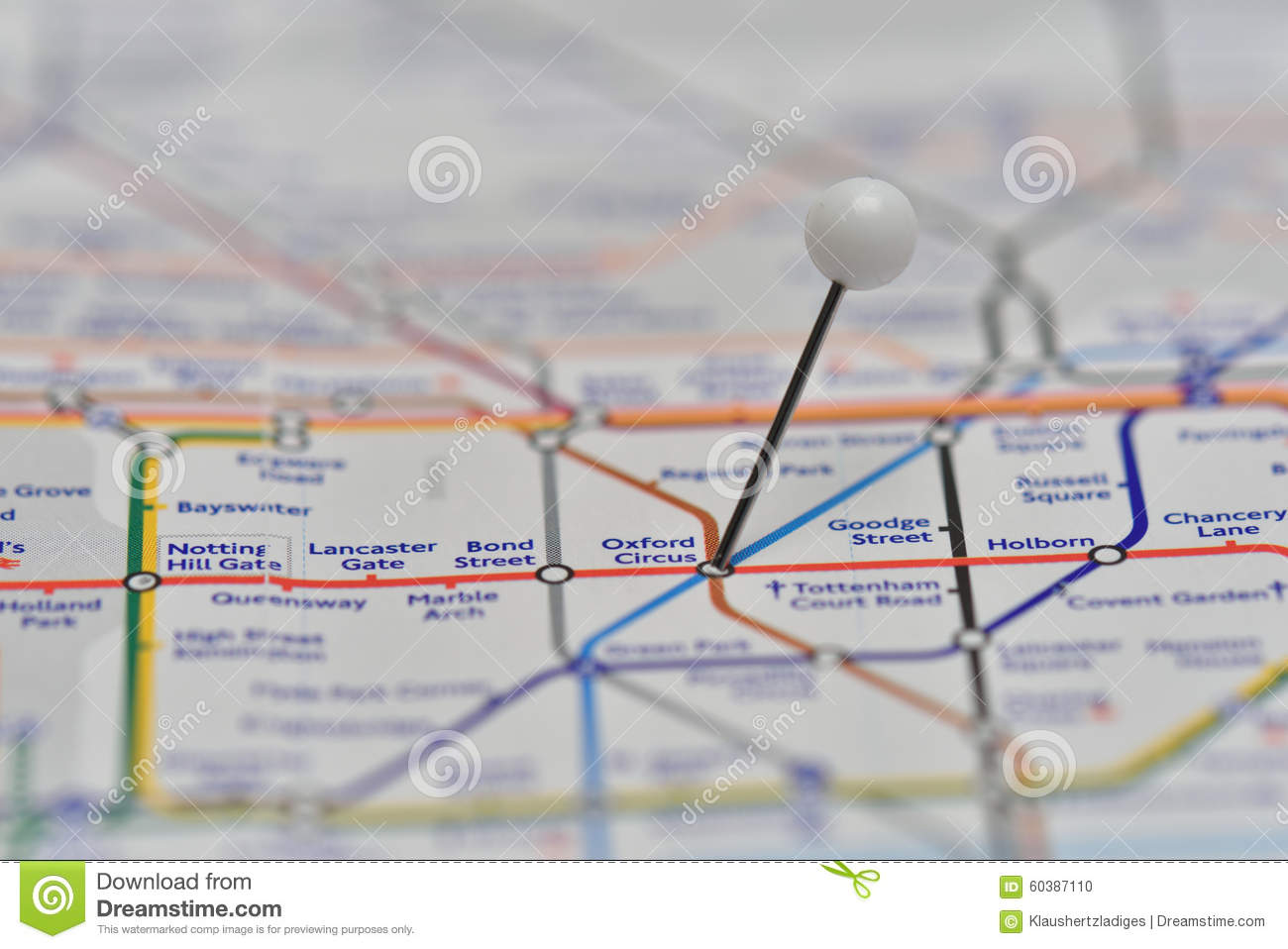 London Underground Map With Pin In Oxford Circus Station Stock Photo