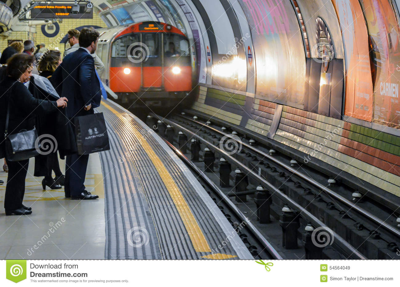 London Underground - people waiting for a train