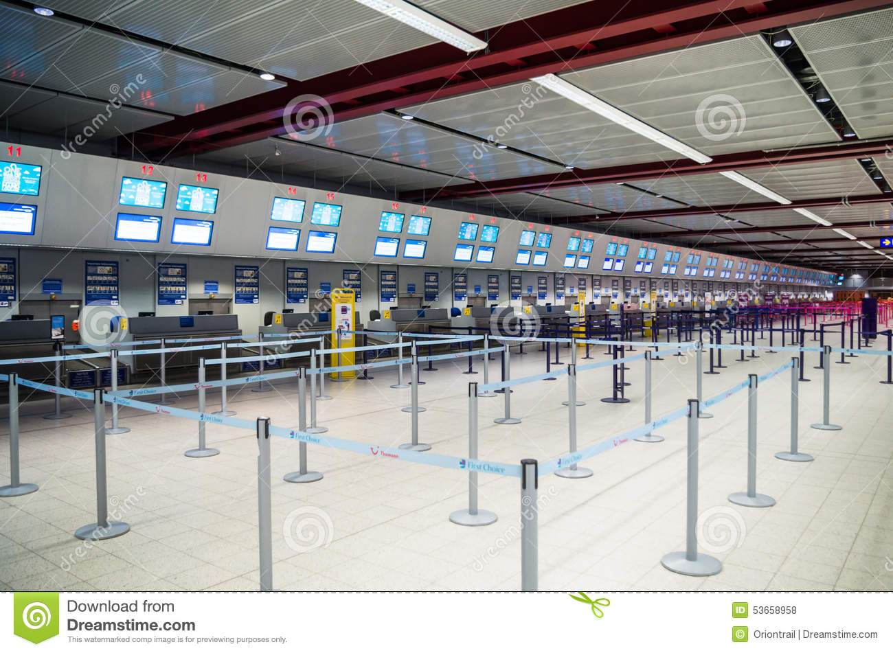 LONDON, UNITED KINGDOM - April 12, 2015: Interior with empty check-in lines on Luton airport in London