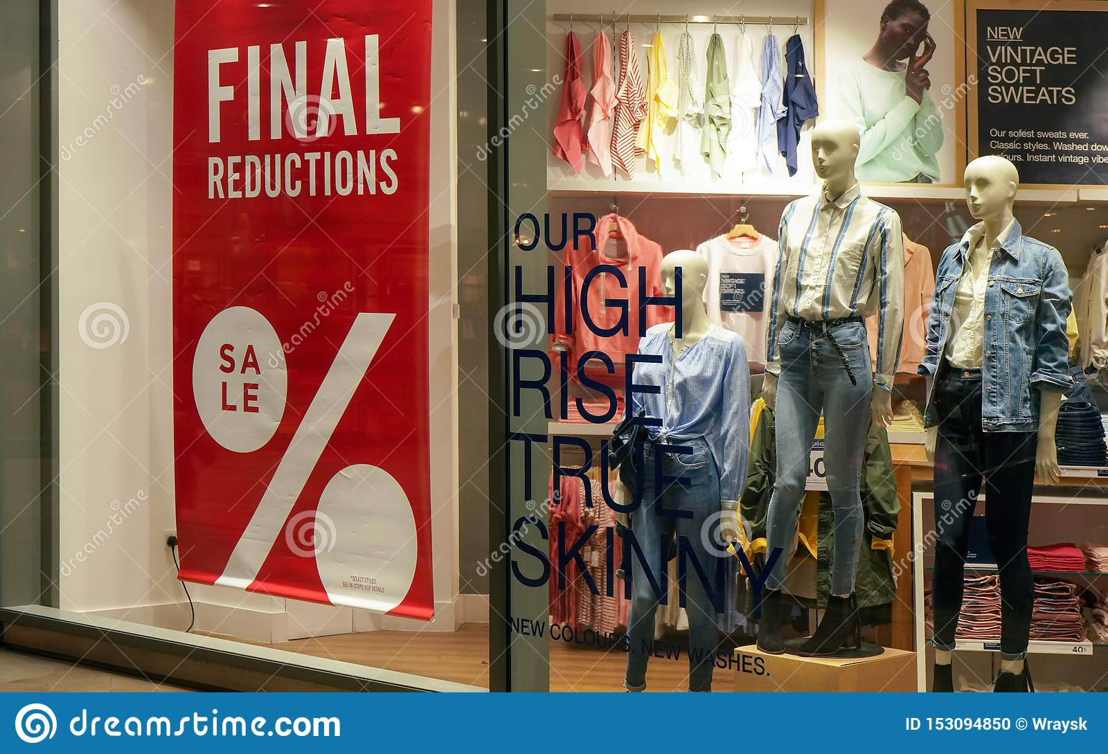 London, United Kingdom - February 01, 2019: Final reductions sale sign at fashion store window. Goods are usually reduced in price