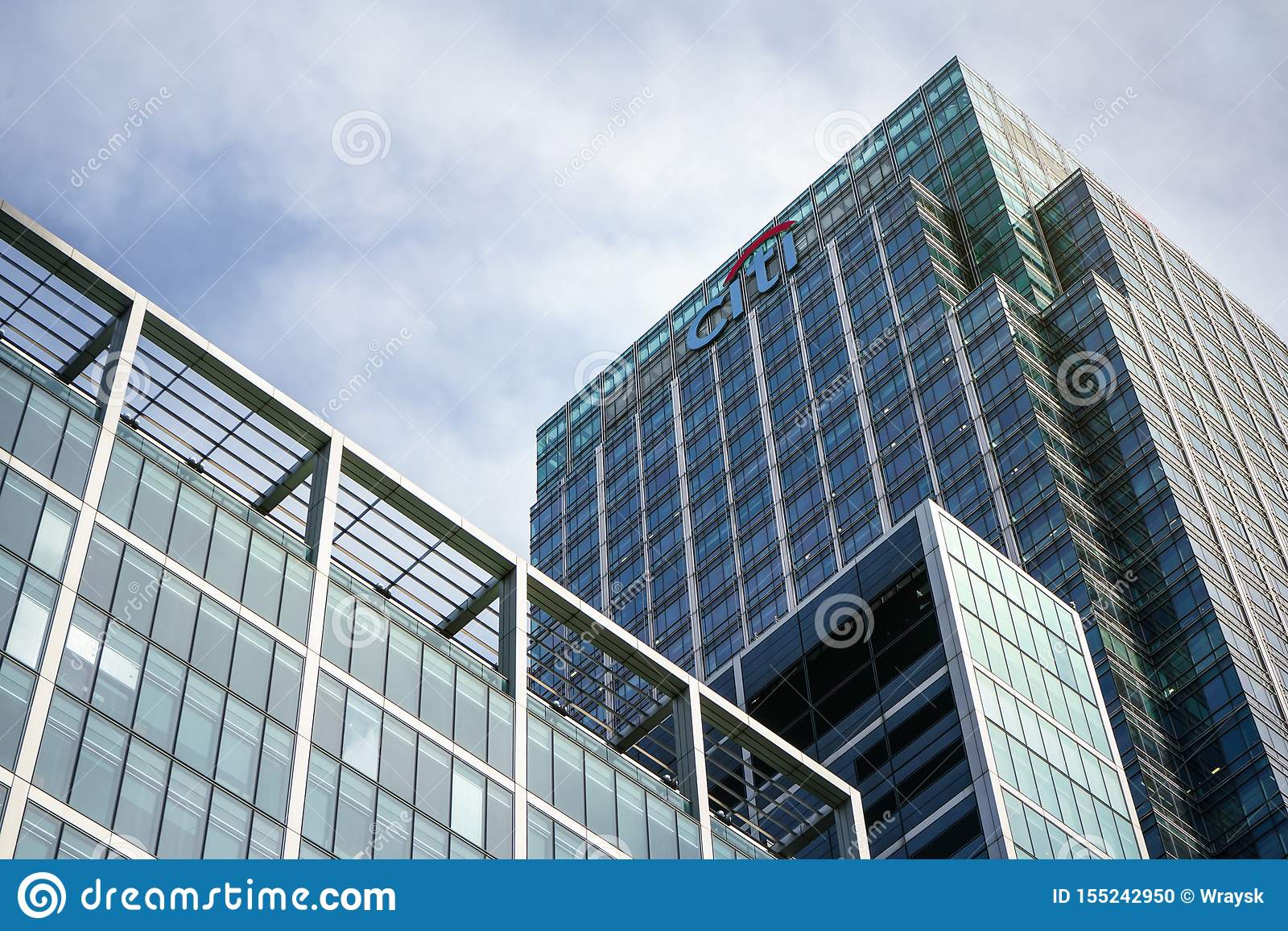 London, United Kingdom - February 03, 2019: Sun shines on Citi EMEA headquarters at Canary Wharf. Citibank Citigroup Inc. is