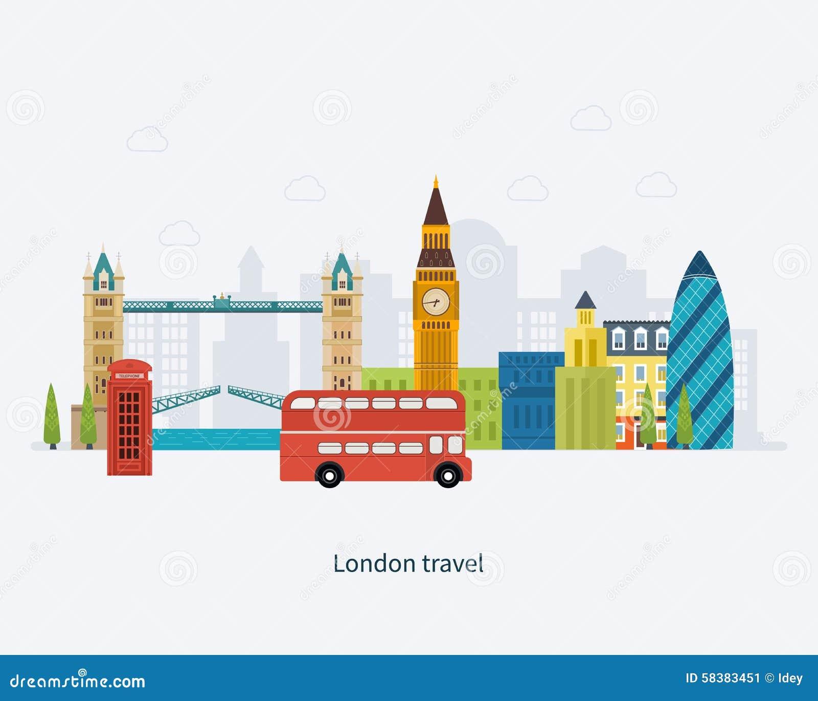 London, United Kingdom flat icons design travel