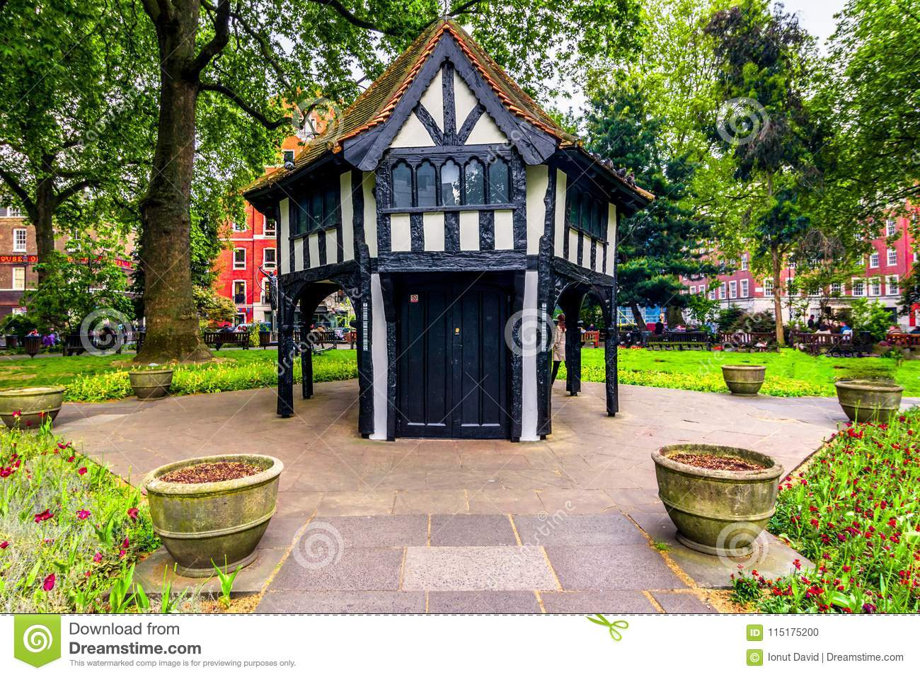 London, The United Kingdom of Great Britain: British architecture in a park