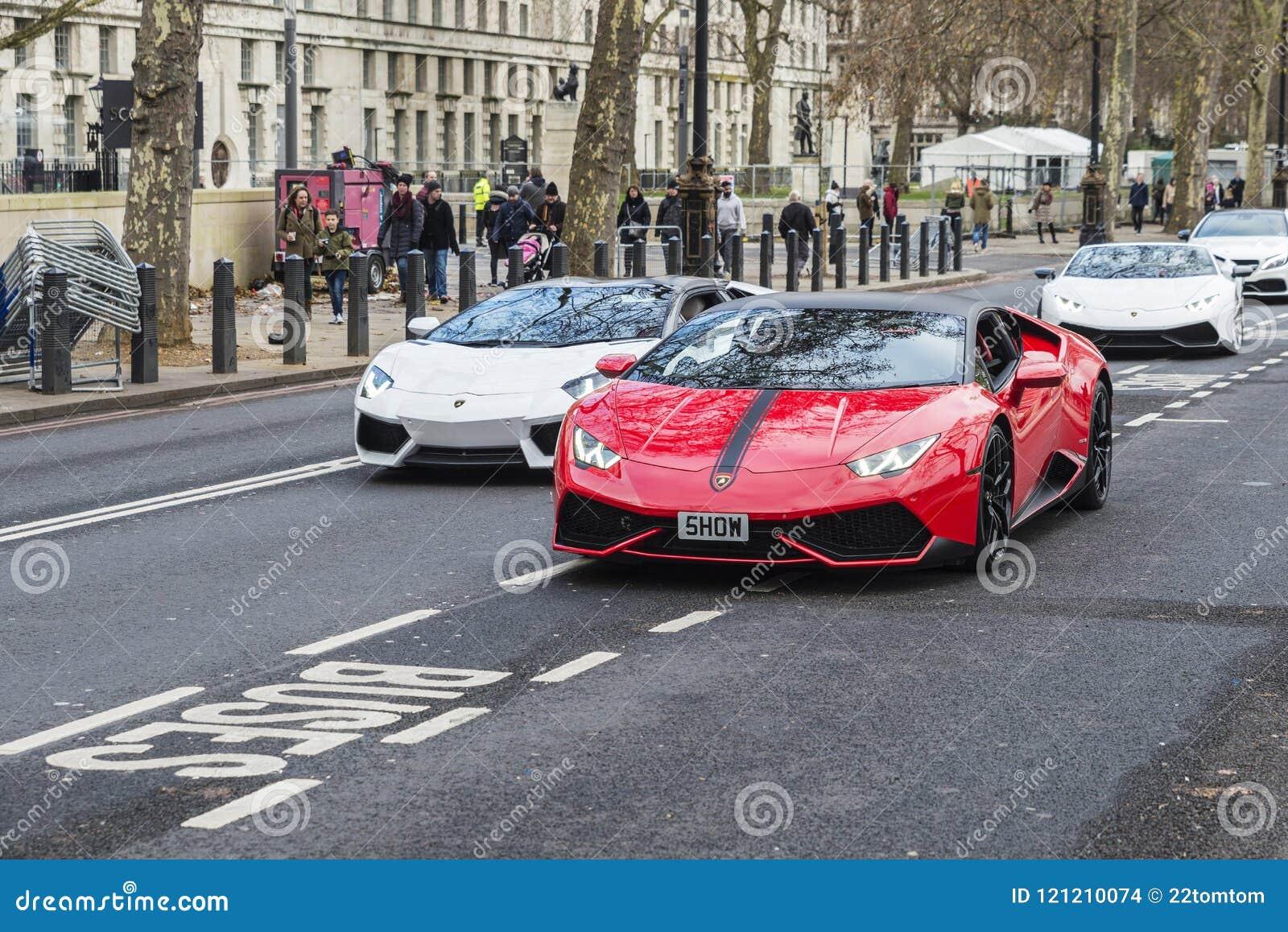 Parade Of Lamborghini Aventador In London England United Kingdom