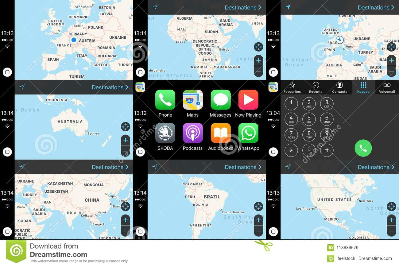 Apple Car Play dashboard home screen with maps of continents
